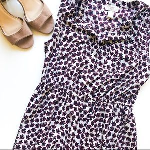 LOFT Ann Taylor Purple and White Leaf Dress